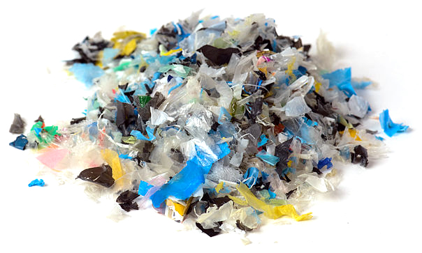 Typical chipped plastics captured for recycling